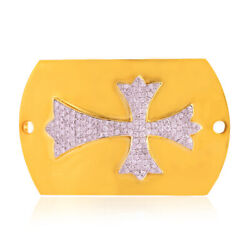 18k Yellow Gold Studded Diamond Religious Cross Sign Connector Finding Jewelry