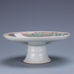 8.2 Antique Old Chinese Porcelain Famille Rose Character High Foot Fruit Plate