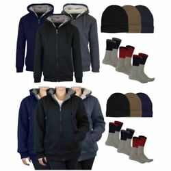 Menand039s Or Womenand039s Sherpa Hoodie Fleece Hat And Thermal Socks Gift Set