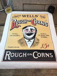 Vintage Wells Rough On Corns Complete Cure Advertising Poster - 16 X 20 Paper