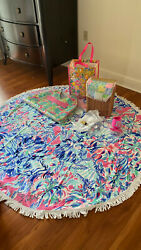 Lilly Pulitzer Towel Wine Basket Wine Cork And Glass Picnic Set W Viv And Lou Tote