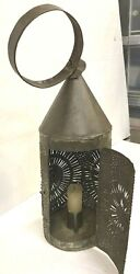 Antique 14 Hand Punched Tin Paul Revere Candle Lantern From New York Free Ship