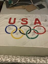 Autographed Emerson 1996 Olympic Games Flag 3and039 X 5and039