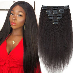 Extra Thick Clip In Full Head Kinky Straight 100 Virgin Human Hair Extensions T
