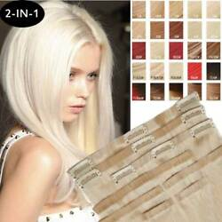 2-in-1 Clip In Tape Human Hair Extensions Full Head Seamless Platinum Blonde T99