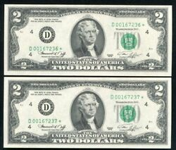 2 Consecutive Fr. 1935-d 1976 2 Star Frnandrsquos Cleveland Oh Gem Uncirculated