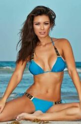 Notorious Swimwear Blue Lagoon Triangle Top And Side Tie Cheeky Scrunch Bottom W/