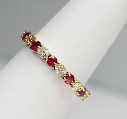 Signed T+co 18k Yellow Gold 5/8 Cttw Round Diamond And Ruby Eternity Ring Hi Vs