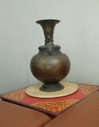 Ancient Antique Bronze Container Nepalese Rice Beer Pot Himalayas Ritual Art