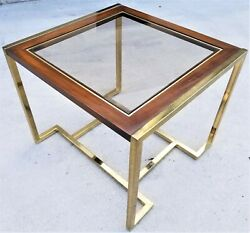 Vintage Mcm Milo Baughman Style Brass Wood Smoked Glass Side End Table