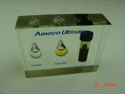 Vintage Rare Amoco Ultimate Lucite Acrylic Desk Oil Display Dirt Paperweight