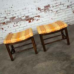 Chinese Chippendale Pair Foot Stools In Orange And Yellow Stripe Upholstery