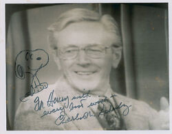 Charles Schulz Signed Autographed Photo With Snoopy Peanuts Sketch Psa