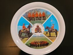 Vintage Souvenir Of Canada Royal Canadian Mounted Police Round Metal Tin Tray