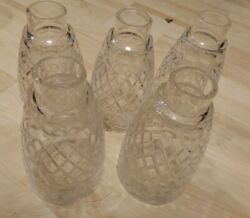Vintage Crystal Bell Light Fixture Globes Covers Set Of 5 Waffle Pattern