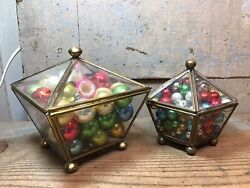 2 Vintage Glass And Brass Panel Hinged Footed Trinket Boxes, Antique Ornament Ball
