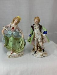 2 Vintage Figurines Porcelain Occupied Japan Colonial Victorian Man And Woman