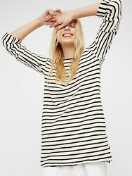 NWT Free People Come On Over Striped Tunic dress pockets Beach Small S cotton $49.00