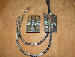 Bolo Tie And Belt Buckle Set ---- Sterling Silver And Multi-stone Inlays