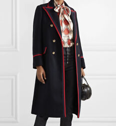 Grosgrain Trim Double Breasted Wool Blend Coat In Navy Size40 Retail-4980