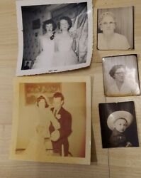 Lot Of 5 Old Black And White Photos Wedding Graduation-1950s