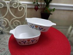 CORNING WARE FESTIVAL CHICKEN PATTERN ONE 2 3 4 CUP DISH amp; ONE 1 3 4 CUP DISHES