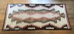 Vintage Navajo Native American Small Area Rug - Light Brown, Pink, And White