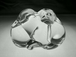Steuben Glass Puppy Love Hand Cooler | Signed Crystal Dog Paperweight