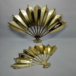 Vtg Pair Brass Fan Wall Hanging Decorations
