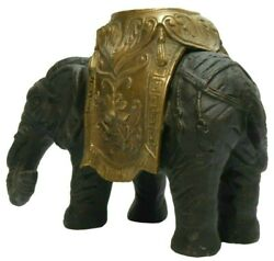 Late 19th-early 20th C Indian Antique Bronze Elephant Statue/ornate Brass Saddle