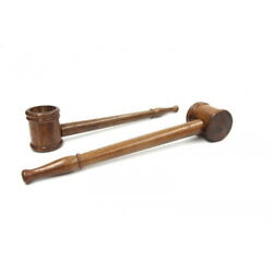 """Small Wood """"flat Bottom Popeye Pipe"""". For Tobacco Or Herbs.  Package Of 2"""