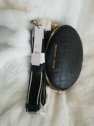 $325 New MARC JACOBS Croc Embossed Crossbody BLACK Cow Leather Bag $100.00