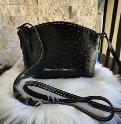 Dooney amp; Bourke Ruby Crossbody Small Ostrich Embossed Leather Handbag Black $124.99