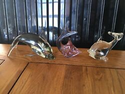 Vintage Murano Glass Animals Dolphins Paperweights
