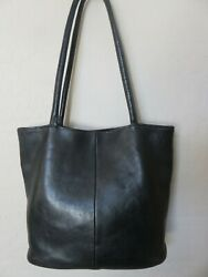 Vintage Hobo International Tote Bag Black Leather Handbag USA $37.99