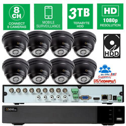 Q-see Security Camera System Pir Kit 8 Nightvision 1080p Cameras Motion 1tb New