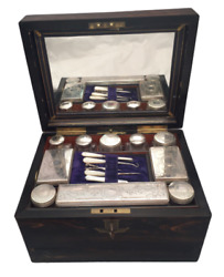 Wooden Necessaire Case With Glass And Silver Jars