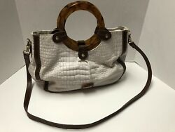 Kim Rogers Beige amp; Brown Purse With Plastic Handles And Shoulder Strap $12.99