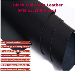 Md/zon 4-6 Ft Oil Tanned Black Leather 9-10 Oz 3.6-4mm Thickness Pre-cut