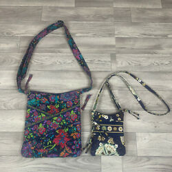 Lot of 2 STEPHANIE DAWN Floral Pattern Hipster Crossbody Purses $19.99