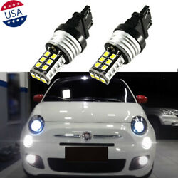 7443 White 6000k Led Bulbs For Fiat 500 500l 2009-2019 Daytime Running Light Drl