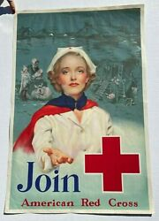 1939 Join American Red Cross Recruiting Poster W/ Nurse By R.c. Kauffmann