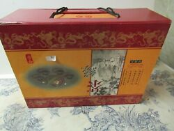 Vtg. Chinese Yixing Purple Sand Pottery Tea Pot / Cups Set In Ornate Case