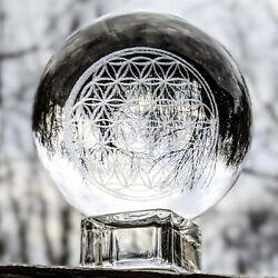 Crystal Ball On Stand Flower Of Life Clear Glass Sphere Glass Chakra Spiritual