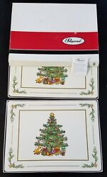 Set Of 8 Pimpernel Spode Christmas Tree Placemats Large Acrylic Cork Backed
