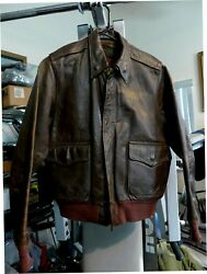 Wwii Original Us Army Air Corps Named A-2 Flight Leather Jacket 4 Used
