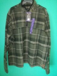 John Wayne Menand039s Green Plaid Pullover Size Xxl Wooly Fleece 1/4 Zip Pullover Nwt