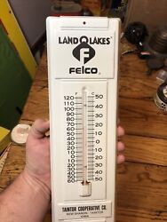 Vintage Felco Farmers Coop Thermometer Tin Sign Gas Oil New Sharron Taintor Iowa