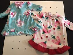2 Holiday Christmas Nightgowns Fits American Girl And 18andrdquo Dolls Elves And Polar Bear