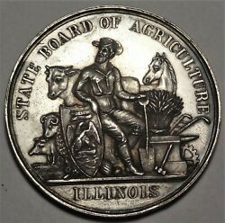 1882 Illinois State Board Of Agriculture Silver Award Medal 50mm Harkness Il-55
